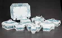 Set of English blue and white china with leaf and floral decoration, marked Crown Pottery, Stoke on Trent, c.1900, 70 pieces