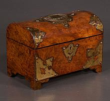 Sheraton burl walnut dome top tea caddy with brass mounts and fitted interior, c.1860, 10