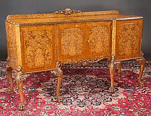 Chippendale style burl walnut sideboard with carved edge around the top, carved apron, cabriole legs with carved knees and claw feet, c.1900, 66