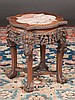 Chinese teakwood stand with inset marble top, pierced carved apron and ball and claw feet, c.1860, 16
