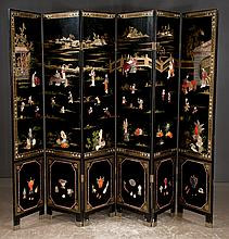 Six panel Chinese lacquered screen with hard stone figural and scenic decoration, 96