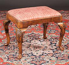 Exceptional Queen Anne style walnut stool on cabriole legs with deep shell carved knees and pad feet, c.1860, 21