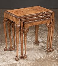 Nest of three Chippendale style burl walnut table with carved edge around the tops on cabriole legs with carved knees and claw feet, c.1920, 21