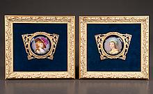 Two miniature paintings on porcelain of The Duchess of Devonshire and Elizabeth de France in bronze frames encased in gold gilt frames, overall size 8.5