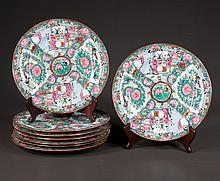 Collection of eight oriental porcelain plates having famille rose decoration, 10.5