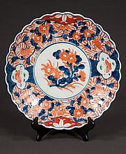 Imari porcelain charger with cobalt blue, green and bittersweet floral decoration, c.1880, 12