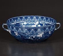 Blue and white Cauldon china bowl with Roman scene decoration with warriors in chariots, c.1900, 9.5