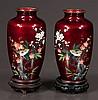 Pair of Japanese red foil cloisonné vases having bird and floral decoration on carved teak stands, 7