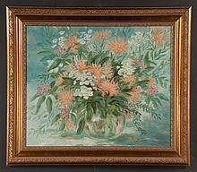 Oil painting on canvas, still life floral, signed