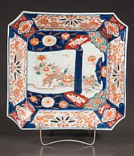 Imari porcelain charger with cobalt blue, green and bittersweet fu lion and floral decoration, c.1860, 11.5