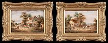 Pair of 19th century English village scene paintings with people and horses, canvas size-10