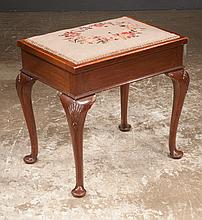 Queen Anne style mahogany piano stool with needlepoint cushion and on cabriole legs with shell carved knees and pad feet, c.1900, 22