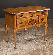 Queen Anne style American maple lowboy with fan carved drawer, cabriole legs and pad feet, 36