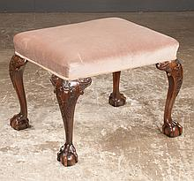 Chippendale style mahogany stool on cabriole legs with carved knees and ball and claw feet, c.1900, 24