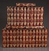 Set of 28 select English leather bound books with gold tooling,