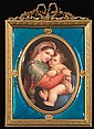 19th century KPM painting on porcelain of the Madonna and child in a bronze frame with a blue enamel border, porcelain panel size, 9