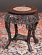 Chinese carved teakwood stand with inset marble top, c.1880, 16