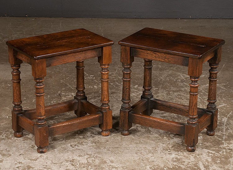 Pair of Jacobean oak joint stools on turned legs with stretchers, 15