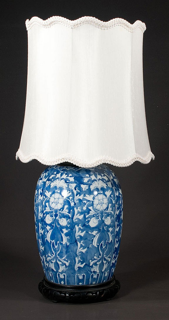 Blue and white Chinese porcelain ginger jar with floral decoration, adapted as a lamp with shade, 29