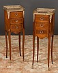 Pair of bronze mounted Louis XV walnut marble top stands with three drawers, c.1900, 10