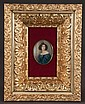 Oval miniature painting of a young lady in a blue dress and in a gold gilt shadow box frame, c.1890, frame size-14