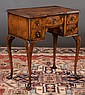 Queen Anne walnut block front lowboy with cross-banded top, cabriole legs and shaped pad feet, c.1840, 27