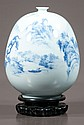 Blue and white Chinese porcelain bottle vase with scenic decoration, 11