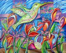 Acrylic on Canvas Original Hummingbird