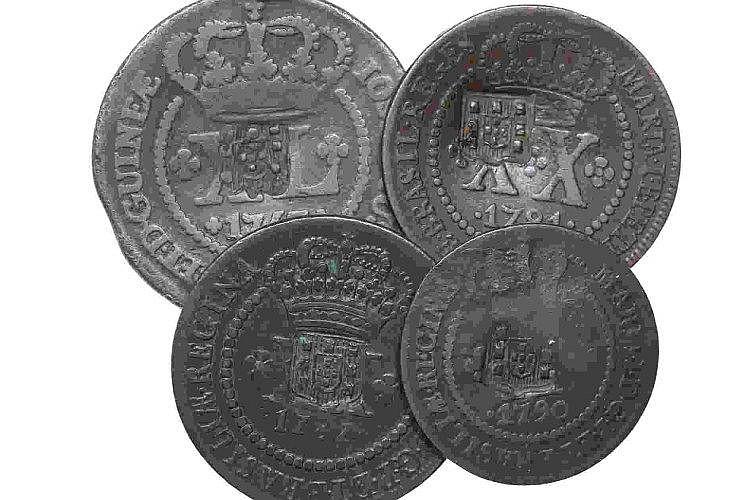 Brazil - D. João P. Regente - 4 coins, X, XX, XL Réis 1753-90