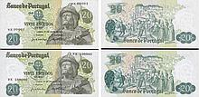 Paper Money - Portugal 2 bank notes 20$00 Ch. 8 1971