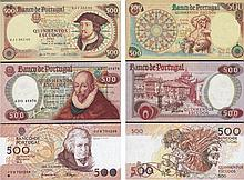 Lot - 3 Paper Money Portugal 500$00 ch. 10, ch. 11, ch. 12