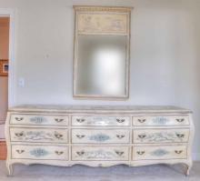 Large paint-decorated Italian triple dresser. 82 in. L X 23 in. D X
