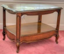 French provincial side table. 21 in. H X 30 in. W X 22 in. D