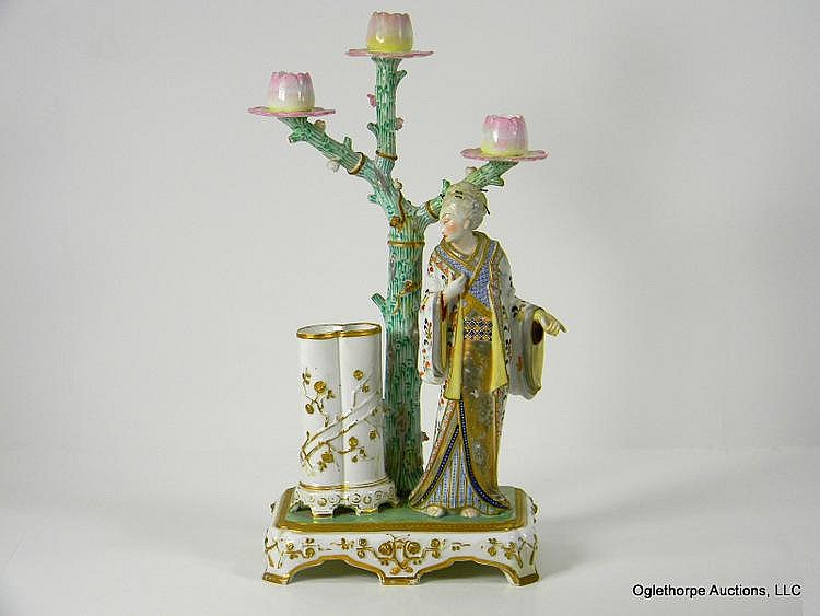 ENGLISH JAPONISME PORCELAIN CANDELABRA