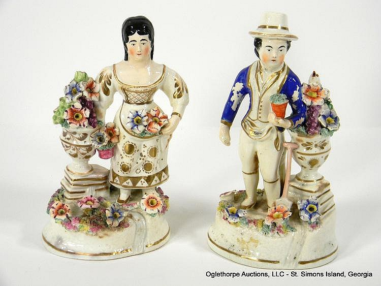 PAIR STAFFORDSHIRE FIGURINES