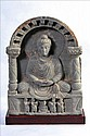 A NICE AND LARGE GANDHARAN SCHIST GABLE STUPA PANEL OF BUDDHA