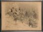 ADOLPHE WILETTE (1857-1926), d'après.  «La retraite de Russie. »  Grande lithographie, contre signée à la plume avec un dessin de grognard et un envoi.  Encadré sous verre.  83 x 60 cm A.B.E