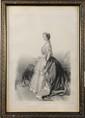 FRANZ XAVER WINTERHALTER (1805-1873), d'après.  « L'Imperatrice Eugenie »  Lithographie.  66 x 44 cm. Sous verre. Cadre a décor de fleurettes.  B.E