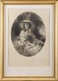 FRANZ XAVER. WINTERHALTER (1805-1873), d'après.  « L'Impératrice Eugénie dans un décor champêtre. »  Gravure ovale par Jouanin, graveur de SM l'Impératrice.  62 x 46 cm.  Encadrée sous verre.  B.E.