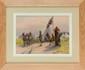 François Richard de MONTHOLON (1856-1940) Troupes indiennes sikhs , entrée du camp britannique des Bruyères-Saint-Julien à Rouen . 1915 . Aquarelle sur sérigraphie Signée en bas à droite Etiquette de la vente d'atelier au dos 27 x 38 cm (10,6 x 15