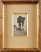 Henri Joseph HARPIGNIES (1819-1916) Paysage animé au chêne Encre et lavis Signé et daté 94 en bas à gauche 10 x 6,5 cm (à vue) (3,9 x 2,5 in.) Au dos : Dédicacé