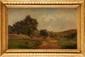 Ecole Française du XIXème siècle Paysage animé au berger Huile sur panneau 28 x 45 cm (11 x 17,7 in.)  Oil on panel