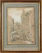 Henry John BONNINGTON (Attrib.) (XIXème siècle)  La rue de l'Horloge Crayon, lavis et réhauts de gouache 32 x 23 cm (12,6 x 9 in.)  Pencil, wash drawing and gouache
