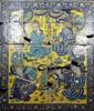 Scène de banquet Panneau composé de carreaux de revêtement mural en céramique peinte en polychromie sous glaçure transparente. Sur fon jaune d'or, deux jeunes princes assistent à un banquet dans un palais, amuses par des musiciens, pendant qu'au