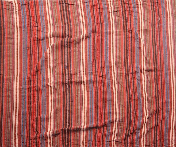 Fin KILIM-DJAJIM décor bayadère (à bandes et rayures) Milieu XXème siècle 172 x 163 cm (belle polychromie)