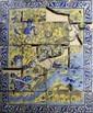 Scène bucolique Panneau fragmentaire composé de carreaux de revêtement mural en céramique peint en polychromie sous glaçure transparente. Sur fond jaune des personnages cueillent de fruits à proximité d'un ruisseau, où nagent des canards et des