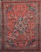 LILIAN (Iran) fond cerise à caissons floraux Vers 1970 193 x 133 cm