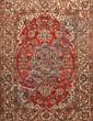 Fin ISPAHAN-NADJAFABAD (Iran) fond cerise à rosace centrale fleurie Milieu XXème siècle 207 x 132 cm