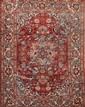 Fin ISPAHAN-NADJAFABAD (Iran) fond vieux rose à rosace centrale Milieu XXème siècle 194 x 140 cm
