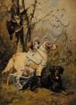 Olivier Charles DE PENNE (1831-1897) Chiens de chasse devant des perdrix Huile sur panneau Signé en bas à gauche 21,2 x 15,5 cm